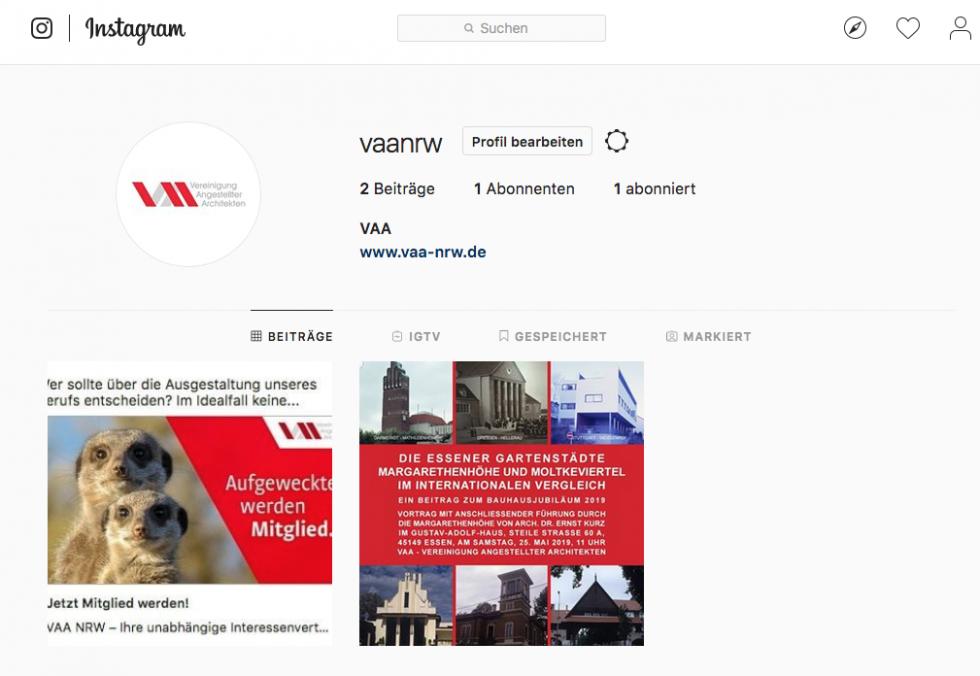 die VAA jetzt auch auf Instagram